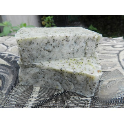 Two Bars of  Rosemary and Tea Tree Essential Oil Lard and Lye Bar Soap with Oregano, Echinacea, Peppermint, Dandelion and Wild Violet