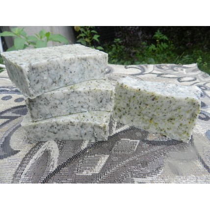 Rosemary and Tea Tree Essential Oil Lard and Lye Bar Soap with Oregano, Echinacea, Peppermint, Dandelion  and Wild Violet, Four bars.