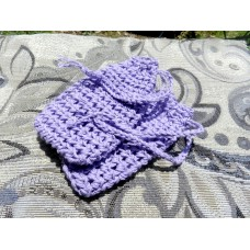 Two Crocheted Lavender Colored Soap Sacks  - 100% Cotton