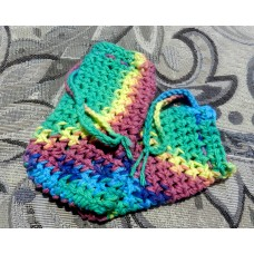 Two Crocheted Rainbow Soap Sacks  - 100% Cotton