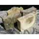 Four Herbal Lard and Lye Bar Soaps. Aloe Vera and Rosemary, Tea Tree and Eucalyptus, Rosemary and Tea Tree, Cucumber and Mint.