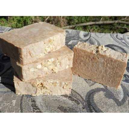 Honey and Oatmeal Lard and Lye Bar Soap four bars.
