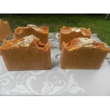 Lard and Lye Naturally Skin Lightening Turmeric, Orange Peel, Oatmeal and Honey Soap. Four bars