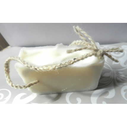 Soap on a Rope. Lard and Lye Soap, plain,  single bar on a 15 inch hand woven cord.