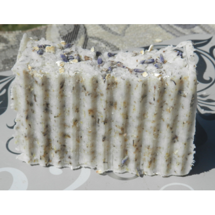 English Lavender and Oatmeal Lard and  Lye Bar Soap with Lavender Essential Oil.