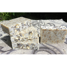 Four Bars of English Lavender and Oatmeal Lard and  Lye Bar Soap with Lavender Essential Oil.