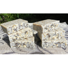 Six Bars of English Lavender and Oatmeal Lard and  Lye Bar Soap with Lavender Essential Oil.