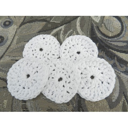 Hand Crocheted 100% Cotton Make Up Removing Pads. 2 Inches in Diameter. Reusable Eco Friendly  Scrubbies