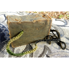 Pine Tar Lard and Lye Soap on a Rope with a Handwoven Camo Cord