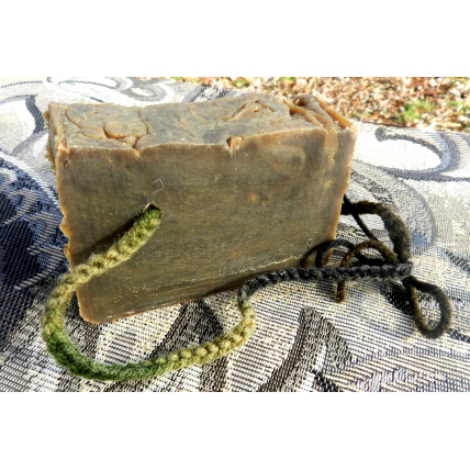 Pine Tar Lard and Lye Soap on a Rope with a Handwoven Camo Cord Closed Tank Method