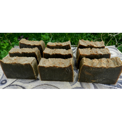Soap Loaf - Lard and Lye Light Pine Tar Soap - 9 Bars of soap