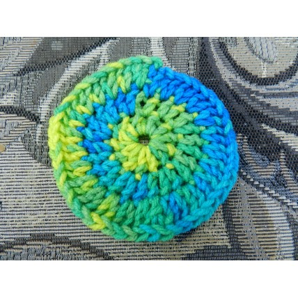 One Hand Crocheted Acrylic Face Scrubbie.  Approx 4 inches in diameter.
