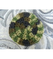 One Hand Crocheted Acrylic Camo Colored Face Scrubbie.  Approx 4 inches in diameter.