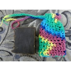 Crocheted Soap Sack, Larger Size  with One Bar of Dark Pine Tar Lard and Lye Soap