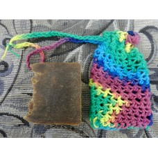 Crocheted Soap Sack, Larger Size  with One Bar of Light Pine Tar Lard and Lye Soap