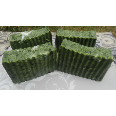 Lard and lye Soap with Organic Spirulina, four bars. Nourishing soap for stressed skin.