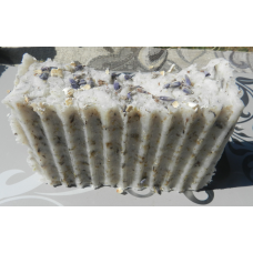 Lavender Soap Lard and lye soap with english lavender, oatmeal and lavender essential oil.