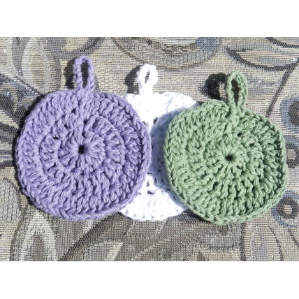 Three Hand Crocheted Face Scrubbies and Make Up Removers. 100% Cotton, Approx 4 inches in diameter.