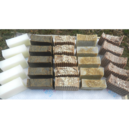 Wholesale 25 bars Lard and lye Soap Selection. With labels. Plain, pine tar, honey and oatmeal, sweet milk cocoa and organic lemongrass.